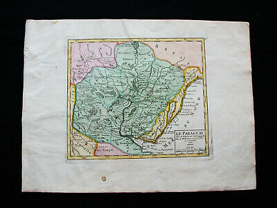 1749 VAUGONDY - orig. map: SOUTH AMERICA, PARAGUAY, ASUNCION BRAZIL PORTO ALEGRE