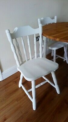 Pine country kitchen round table with chairs painted/waxed Annie Sloan old white