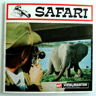 """3x VIEW MASTER SCHEIBE """" SAFARI """" ©  GAF + COVER Reels Pack No. D127"""