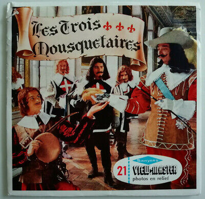"""3x VIEW MASTER SCHEIBE """" Les Trois MOUSQUETAIRES / Die 3 MUSKETIERE """" © 1957"""