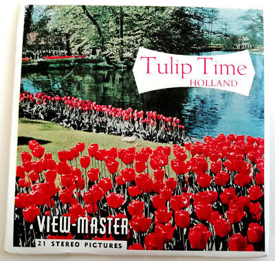"""3x VIEW MASTER SCHEIBE """" TULIP TIME in HOLLAND """" © Sawyers C 385 reels SET !"""