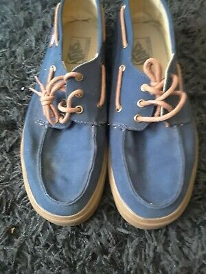 3d0a9f138d VANS Boat Shoes  Chauffer  Navy And Brown Canvas Boat Shoes Men s Size 11