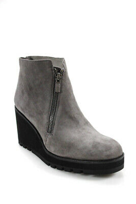 d898cee1846 EILEEN FISHER WOMENS Wedge Suede Alto Boots Graphite Gray Size 8.5 ...