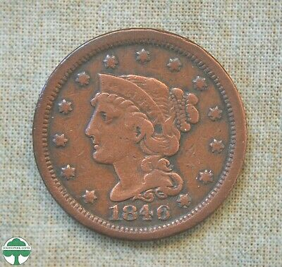 1846 Braided Hair Large Cent - Very Good Details
