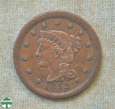 1852 Braided Hair Large Cent - Very Fine Details - Scratches
