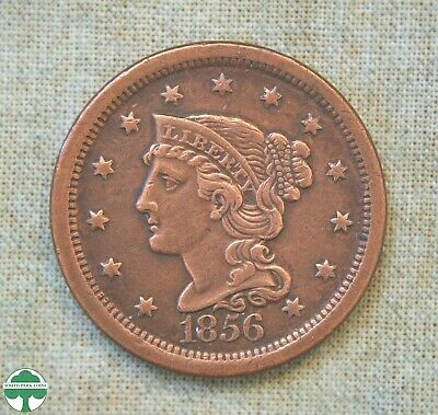 1856 Braided Hair Large Cent - Extremely Fine Details - Cleaned