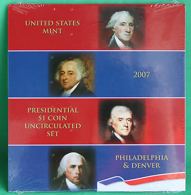 2007 Presidential $1 Coin Uncirculated Set 8 Golden BU Dollars US Mint SEALED