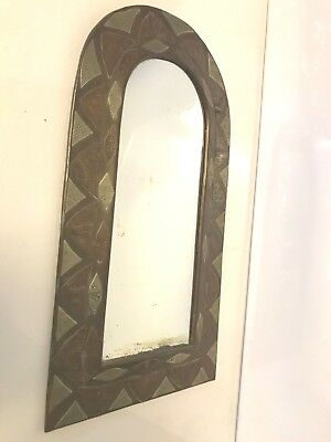Amazing Vintage Ethnic Hammered Copper Brass Arch Shaped Wall Hanging Mirror