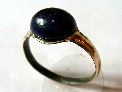 A DETECTOR FIND & POLISHED,200-400 A.D ROMAN BRONZE RING WITH 4ct REAL SAPPHIRE