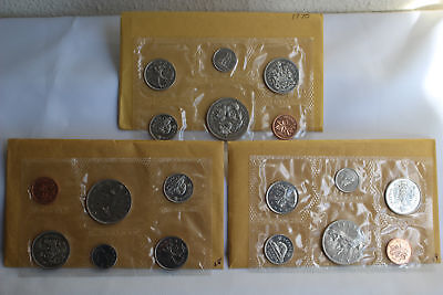 1968 1969 1970 Uncirculated Canada THREE 6 Coin RCM Original Sets Complete 18 Pc