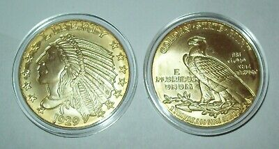Indian Head Eagle 1 Troy Oz .999 Fine Silver Round Gold Gilded