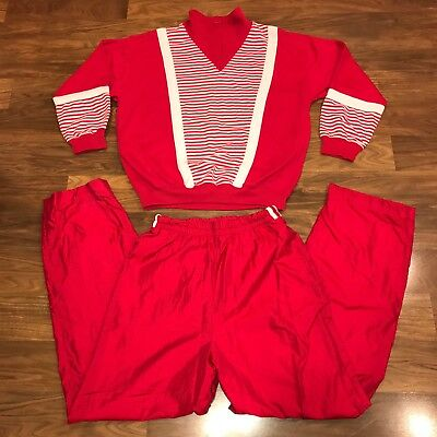 Vtg 80s 90s BLAST Sweatshirt RED White Jogging Track Suit Jacket Pants Womens P