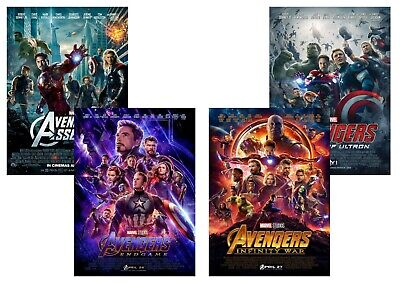 AVENGERS: Endgame, Infinity War, Assemble, Age of Ultron  A5 A4 A3 Movie Posters