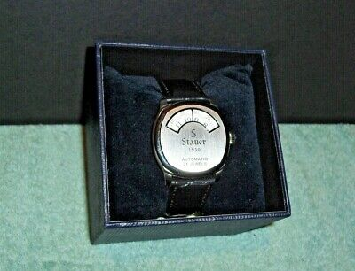 Stauer 1930's Dashtronic Watch With Black Alligator Leather Band Excellent!