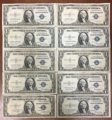 (Lot Of 10) 1935 $1 Silver Certificate Star ⭐️ Notes Circulated