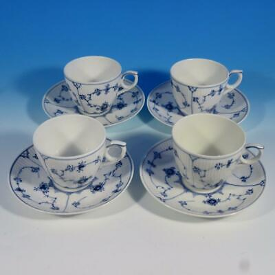 Royal Copenhagen Blue Fluted Plain - 1st Quality - 79 - 4 Flat Cups and Saucers