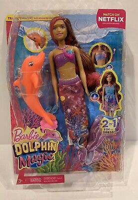 Lovely Barbie Dolphin Magic Transforming Mermaid 2 In 1 Fin To Dress Doll In Box