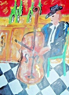 Bass Player original painting by PB hippy flower child art 9x12 impressionist NR