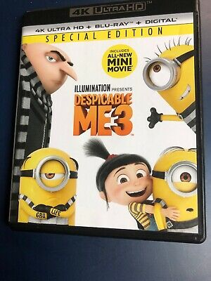 Despicable Me 3 (4K Ultra HD UHD Blu-ray Disc ONLY, 2017) minions movie w/ case