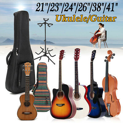 "21""-41"" Acoustic Guitar Ukulele &Case &Stand Student Children Kid Gift Practice"