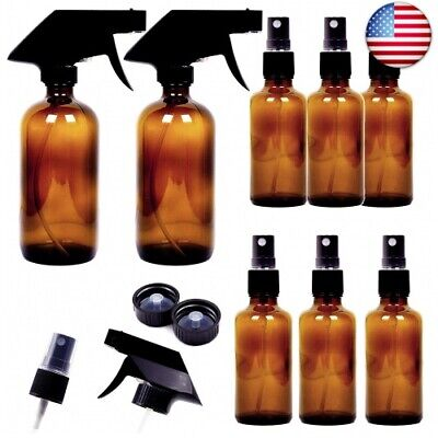 8 Pack Empty Amber Glass Spray Bottles, 2 Pack 8oz and 6 Pack 4oz Refillable Con