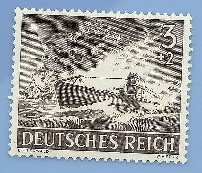 Nazi Germany Third Reich 1943 U Boat Battle 3+2 Stamp MNH WW2 ERA stamp