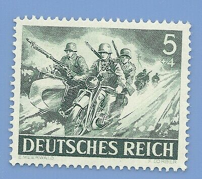 Nazi Germany Third Reich 1943 Nazi Soldiers Motor Cycle 5+4 Stamp MNH WW2 ERA