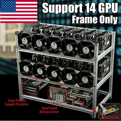 NEW 14 GPU Open Air Mining Miner Frame Bitcoin Case For ETH Ethereum ZEC BTC USA