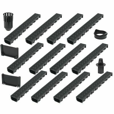 vidaXL 12x Drainage Channels Plastic 12m Drain Driveway Trench Pipe Fitting