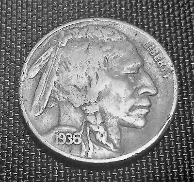 ** 1936-D Buffalo Nickel ** Indian 5 Cent Coin Denver Mint Circulated Ships Free
