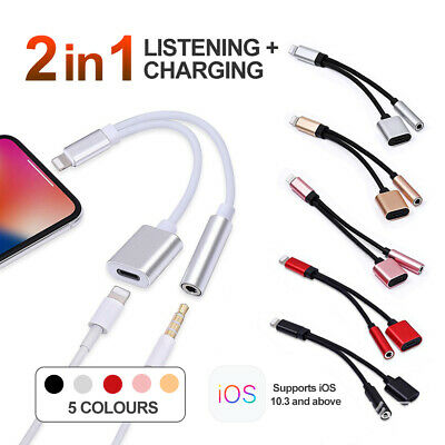 iPhone Headphone Adaptor Dual 3.5mm Lightning Splitter For iPhone XS 8 7 Plus