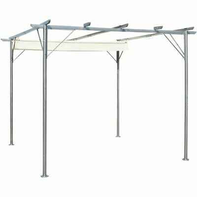 vidaXL Pergola with Retractable Roof Cream White Steel 3x3m Canopy Carport