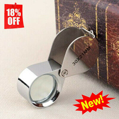 Pocket Jewellers Eye Loupe Magnifier Jewelry Magnifying Glass 30 x 21mm Jew O9Z5