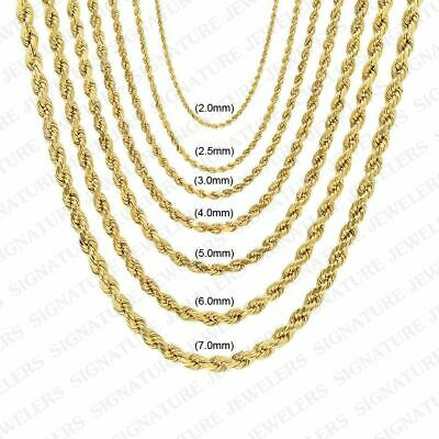 """Real 10K Yellow Gold 2mm to 7mm Diamond Cut Rope Chain Pendant Necklace 16""""- 30"""""""