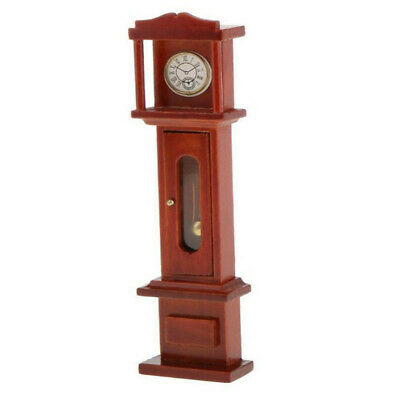 1:12 Dollhouse Miniature Living Room Vintage Wooden Grandfather Brown Clock ☆