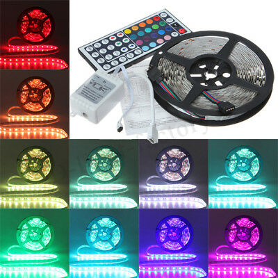 5M SMD 5050 RGB 300 LEDs Flexible Light Strip + 44Key IR Controller DC 12V Car