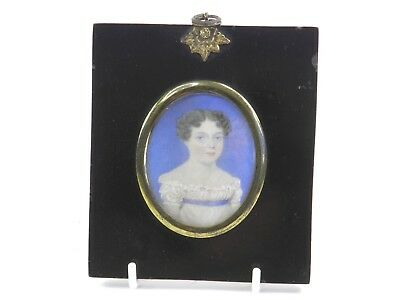 Antique Georgian English School portrait miniature painting of a young girl