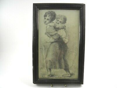 Antique early 19th century English School pencil drawing portrait mother & child