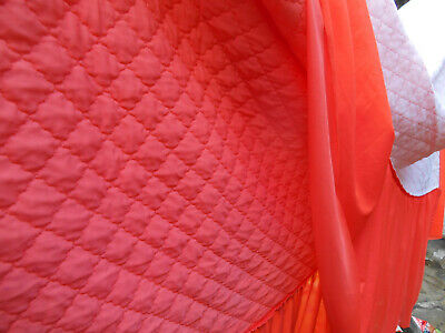 Vintage Nylon Quilted Bedspread Orange Pllowcase Set Retro 60S Double Polyester
