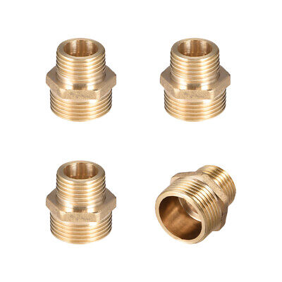 """Brass Pipe Fitting Reducing Hex Nipple 1/2""""x 3/4"""" G Male Pipe Brass Fitting 4pcs"""