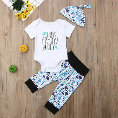 207ff20f552 Summer Cute Newborn Baby Boy Girl Tops Romper Pants Hat Outfits Set Clothes