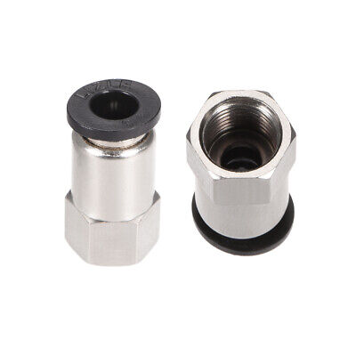 "Push to Connect Tube Fitting Adapter 6mm OD x G1/8"" Female Silver Tone 2pcs"