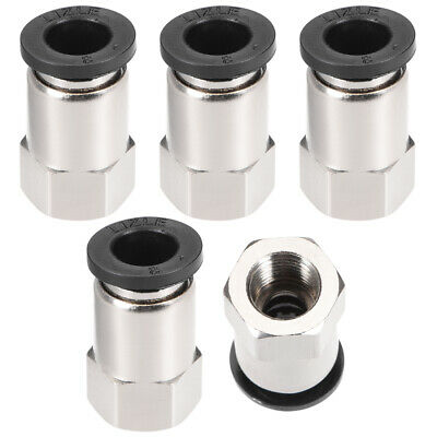"Push to Connect Tube Fitting Adapter 8mm OD x G1/8"" Female Silver Tone 5pcs"