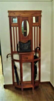 Hall Stand with Mirror & Draw - Stained Pine - Fantastic Condition