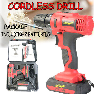 21V Cordless Drill Driver Combi Lithium Ion Battery Screwdriver LED Worklight