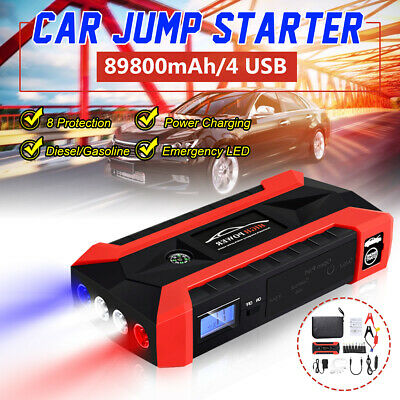Portable 89800mAh Car Jump Starter Booster Charger Battery 4 USB Power Bank LED