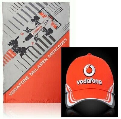FLAG and CAP Formula One 1 Vodafone McLaren Mercedes F1 NEW! Rocket Red VMM V08