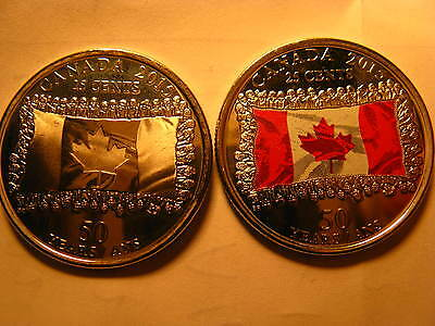 Canada 2015 50th Anniversary Canadian Flag 25 Cent 2 Varieties Plain And Red.