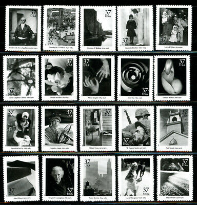 US Scott #3649 a-t Masters of American Photography Set of 20 MNH ***FREE SHIP***