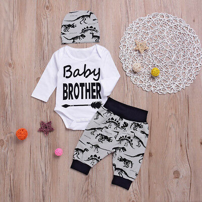3Pcs Newborn Toddler Kids Baby Boy Romper Bodysuit Pants Hat Outfits Set Clothes